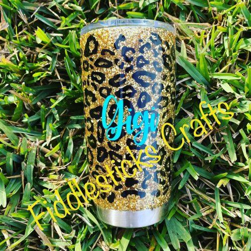 Cheetah Glitter Tumbler