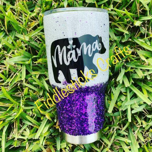 Mama Bear Glitter Tumbler