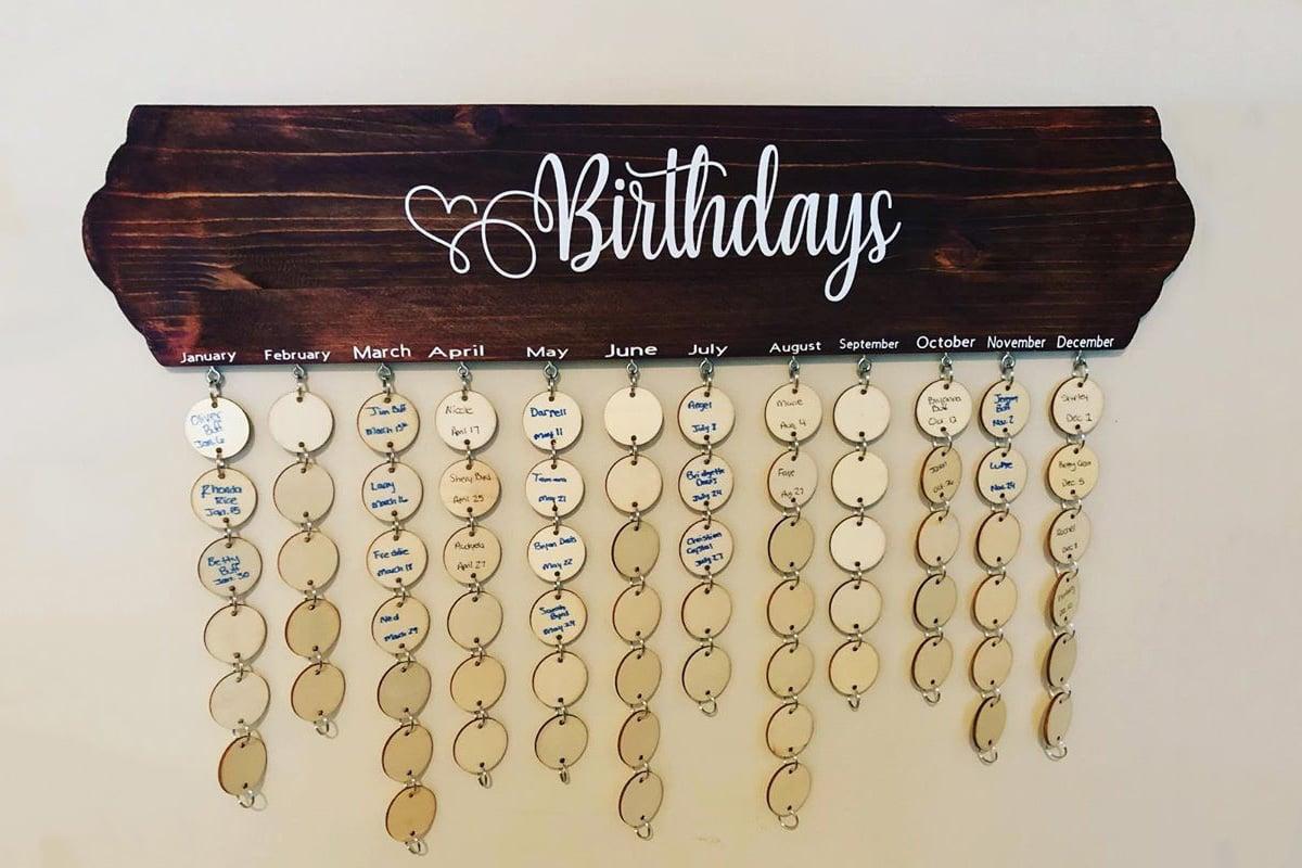 Family Birthdays Wall Hanger