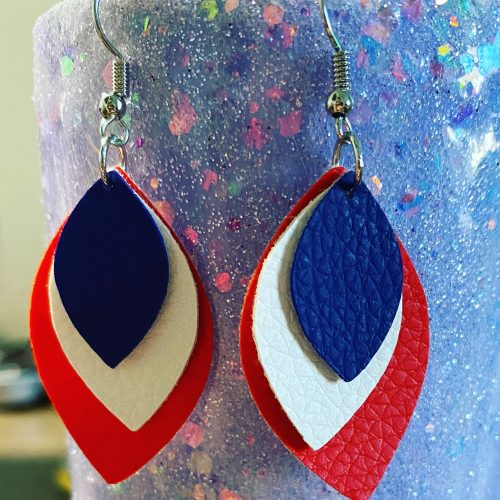 Fourth of July Leather Earrings